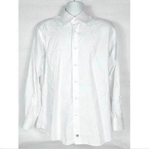 David Donahue Men's Dress Shirt 16 34/35 White